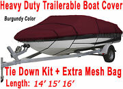 14and039 15and039 16and039 V-hull Fish - Ski I/o Trailerable Boat Cover Burgundy Color B2236r