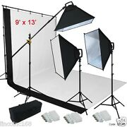 9'x13' Bw Backdrop Support Stand Photography Studio Video 3 Softbox Lighting Kit
