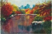 New York City - Fall In Central Park Lake Watercolor Painting Landscape Nature