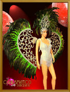 Charismatico Silver And Green Feather Cabaret Wing Headdress And Leotard Costume