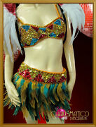 Charismatico Two Pieces Tribal Striped Sequin Corset Bra With Feather Skirt