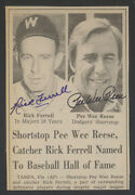 1984 Rick Ferrell Pee Wee Reese Autographed Hall Of Fame Newspaper Article