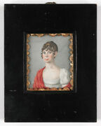 Portrait Of A Young Lady German Empire Miniature On Natural Material Ca.1810