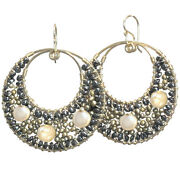 Ibiza 152 Coin And Bronze Pearl With Black Spinel Circle Earrings Metal Choice