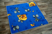 Blue Mouse Trap Childrens Rug Kids Cute Animal Mouse Cheese Bedroom Play Mat