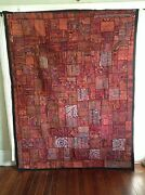 Antique Indian Patchwork Tapestry 85 X 66 Embroidered Wall Hanging Katchi Rug