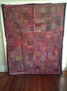 Antique Indian Patchwork Tapestry 6x7 Embroidered Wall Hanging Katchi Mirror Rug
