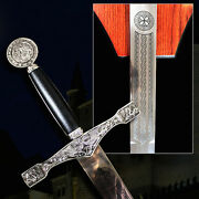 Excalibur Silver 45 Sword With Wood Plaque Camelot King Arthur Collectible