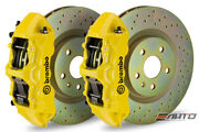 Brembo Front Gt Big Brake Bbk 6piston Yellow 355x32 Drill Disc Camaro V6 10-14