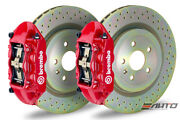 Brembo Rear Gt Big Brake Bbk 4piston Red 365x28 Drill Disc Camaro V6 10-14