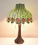 18w Peacock Stained Glass Handcrafted Jeweled Table Desk Lamp Zinc Base