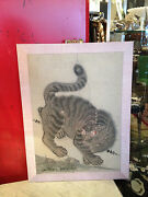 Vintage Possibly Antique Chinese Hand Colored Print Of Snow Leopard W/ Mushrooms