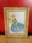 Vtg Mid Century Signed Jules Hanna Oil On Board Painting Of Woman Holding Flower