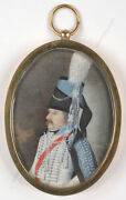Portrait Of Saxonian Hussar Officer High Quality German Miniature 1790s