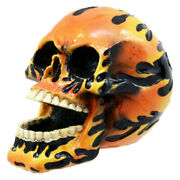 Hot Rod Skull Figurine Biker Hell Spawn Inferno Flame Day Of The Dead Statue