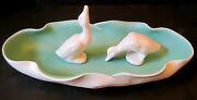 VTG HANDMADE CAL-ART CALIFORNIA POTTERY CONSOLE FLOWER BOWL BAUER DUCK TRAY DISH