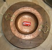Very Antique Stove Wood Under Table Brazier Copper Brass Wooden 18-19 Th C.