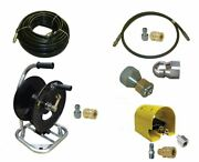 Sewer Jetter Cleaner Kit - Foot Valve, 100' X 3/8 Hose, Reel And Nozzles