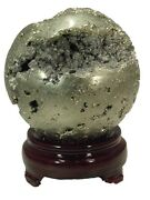 Butw Iron Pyrite Fools Gold 3 5/8 Peru Lapidary Sphere Orb W/ Stand 5341e Abe