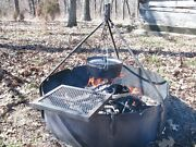 Fire Ring 36 + Tripod And Swing Grate - Heavy Duty - Portable - Practical And Fun