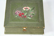 Wooden Antique C1900'swork Box W/ Sewing Cotton And Silk Thread