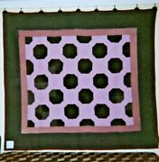 Indiana Amish Bowties Quilt With Frame And Border 68 X 72 Polished Cottons.