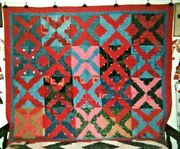 Log Cabin Quilt 74 X 82 1870-80and039s From Pa Cotton Quaker Prints