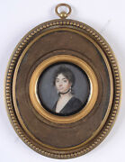 Jacques Delaplace-attrib. Portrait Of A Young Widow Miniature Ca. 1805