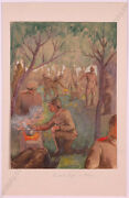 Robert V.doblhoff 1880-1960 German Soldiers In Poland, Wwi, Watercolor, 1915