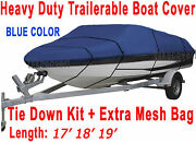 Bass Tracker V-nose Trailerable Boat Cover All Weather Brand New Blue Color Y1