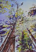 Art By Ippaso Original Mixed Media And039giant Redwoodand039 Trees In Yosemite Painting