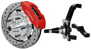 Wilwood Disc Brake Kitfrontw/wwe Prospindles12 Drilledred 6 Piston Calipers