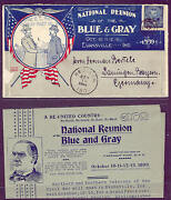 1899 Fantastic Civil War Blue And Gray Reunion Cover With Orig Letter To Germany