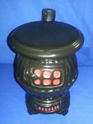 Rare Vintage American Bisque Usa 1944 Pot Belly Stove Cookie Jar W/chimney Lid