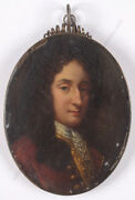 Portrait Of An Aristocrat High Quality Anglo-dutch Oil On Copper Miniature