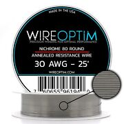 30 Gauge Awg Nichrome 80 Wire 25' Length - N80 Wire 30g Ga 0.254 Mm 25 Ft
