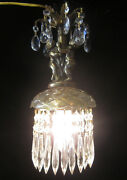 Cherub Hanging Lamp Chandelier Brass Plated Crystal Bobeche Glass Clear Prisms