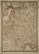 1827 Genuine Antique Hand Colored Map Of Western Russia In Europe. By A.h. Brue