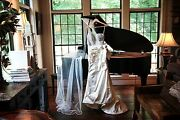 Priscilla Of Boston 4707 One Shoulder Mother Of Pearl Wedding Gown