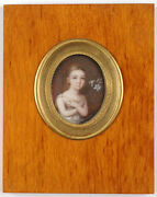 Wilhelm Unger 1775-1855 Little Girl With A Lily Miniature 1800/10