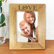 Love Personalised Engraved Wooden Photo Frames - Anniversary, Engagement Gift