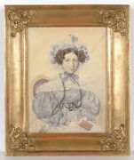 Henri Joseph Hesse Pupil Of David And Isabey Young Lady High Quality Waterc