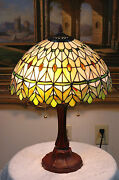 16w Yellow/green Jeweled Stained Glass Handcrafted Table Desk Lamp Zinc Base