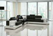 Modern Large Leather Sofa Corner Suite New Rrp Andpound5999 Black