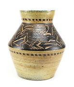 20th Century Studio Pottery Hand Engraved Sgraffito Earthenware Pot