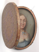 Traveling Case With Oil On Copper Miniature Portrait Of A Lady French School
