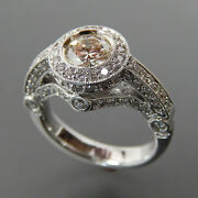 14kt White Gold 0.80 Ctw Center Stone And 1.38 Ctw Side Diamonds Engagement Ring