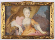 Portrait Of A Young Aristocratic Woman Fine French Miniature Ca. 1750