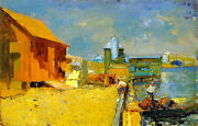 The Wharf, San Pedro  By Franz Bischoff Giclee Canvas Print Repro