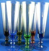 Vintage Harlequin 6 Pc Hand-crafted Colour Art Glass Flute Glasses Vg- In Aust